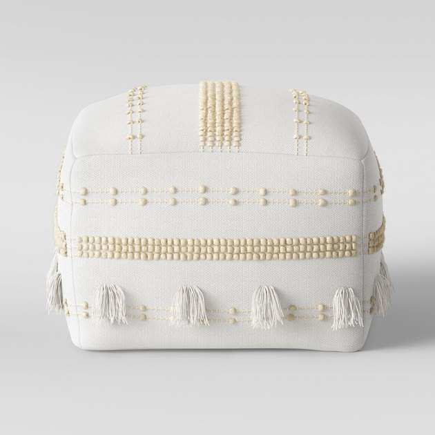 white and cream boho pouf