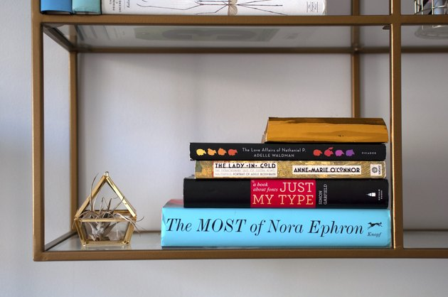 Bookcase styling with books