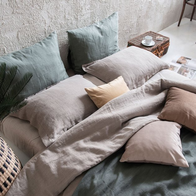 neutral natural linen bed sheet set