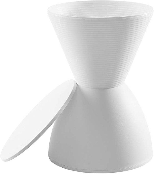 White hourglass stool with storage