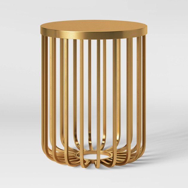 gold cage accent table