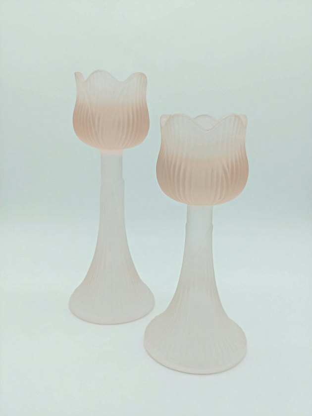 Frosted Blush Pink Candle Holders, $15
