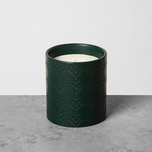 green holiday candle