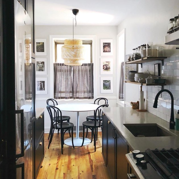 galley kitchen with dining nook
