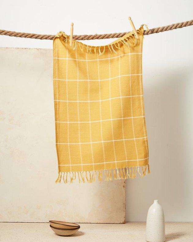 yellow grid towel