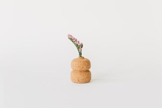 cork double vase with small plant