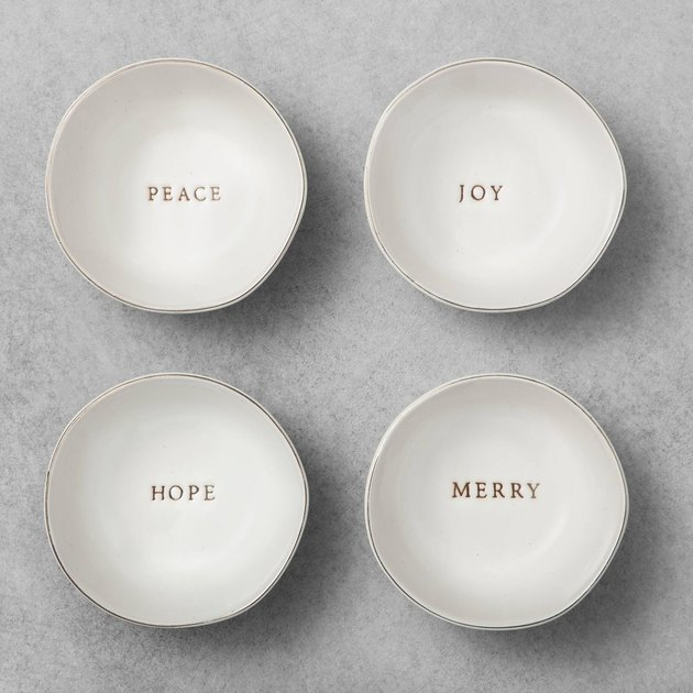 white stoneware seasonal mini bowls