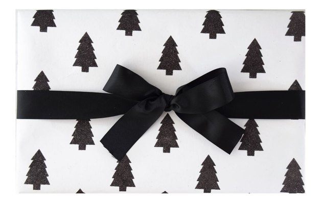 Marble + Vine Black and White Holiday Tree Wrap (2 sheets), $11.99