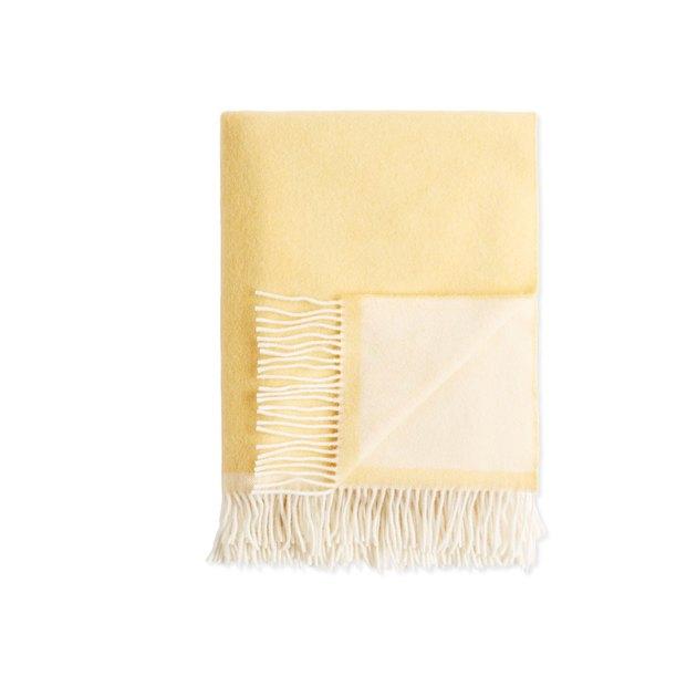 soft yellow fringe throw blanket
