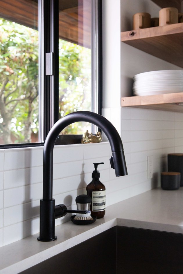 Delta Trinsic faucet in kitchen.