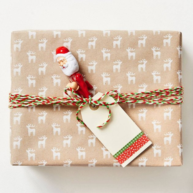 Paper Source White Glitter Reindeer Kraft Paper Roll, $9.95