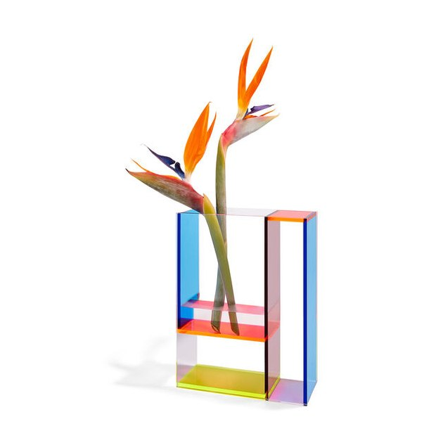 multicolored vase with birds of paradise inside