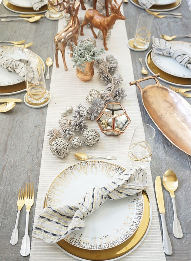 holiday tablescape with gold and silver