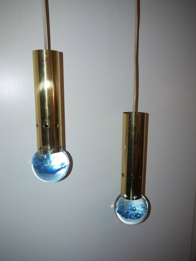 1970s IKEA Brass and Glass Pendant Lights, $286.66