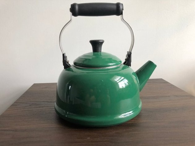 vintage forest green tea kettle