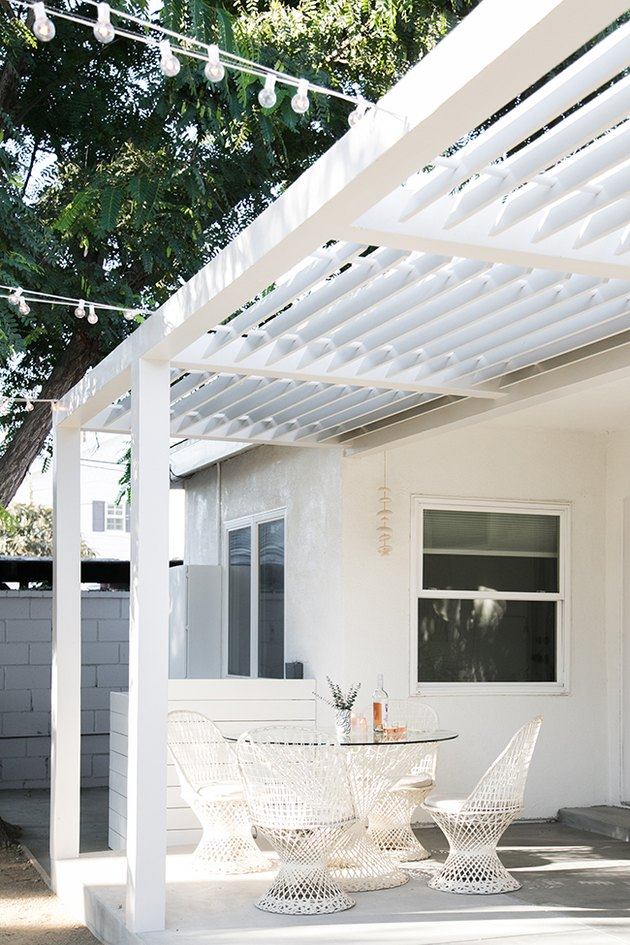 White small patio ideas with modern outdoor furniture