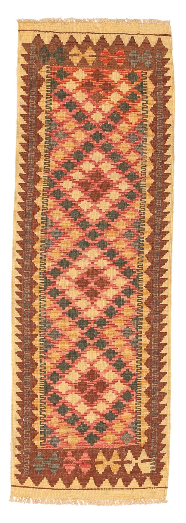 Kilim runner with light brown, pale peach, and orange hues