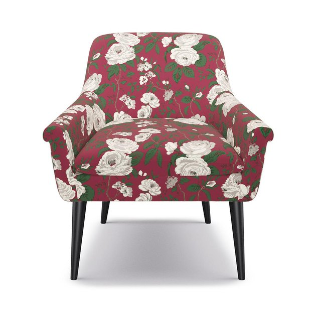 A chair from The Inside in their holiday fabric Cranberry Chintz