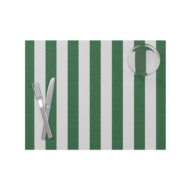Cabana Green stripe placemat from The Inside's new tabletop collection.