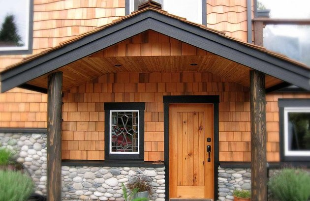 cedar sided entrance