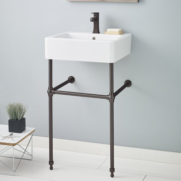 ceramic console bathroom sink with overflow