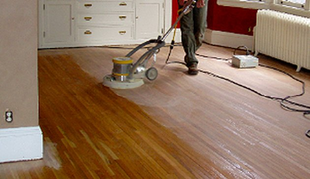 Buffing a floor.