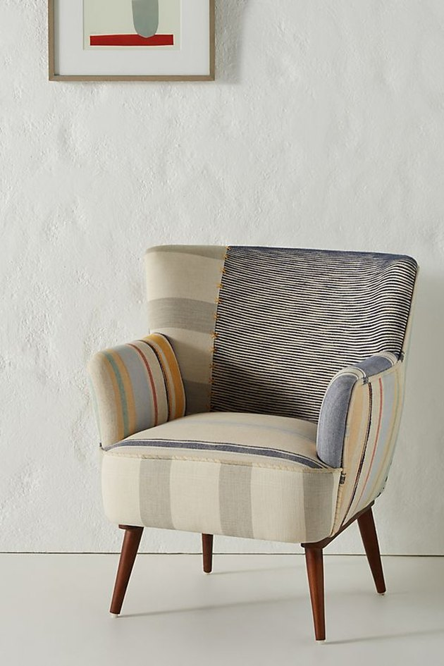 petite accent chair with stripe pattern