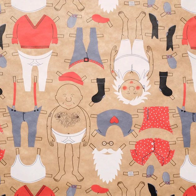 wrapping paper with illustrated figures