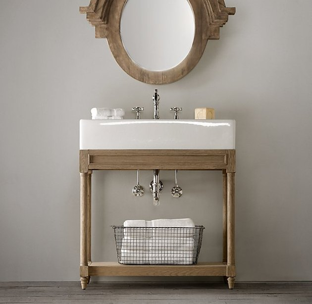 wood console bathroom sink
