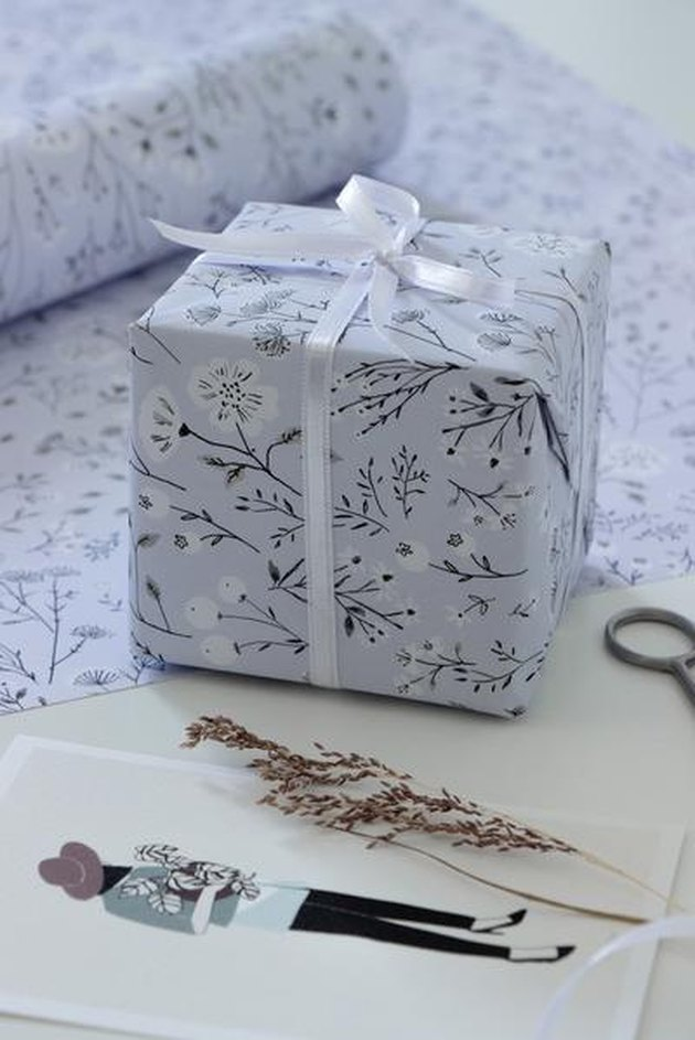 pale blue floral wrapping paper