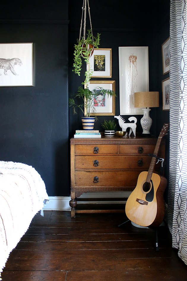 bedroom with wood flooring