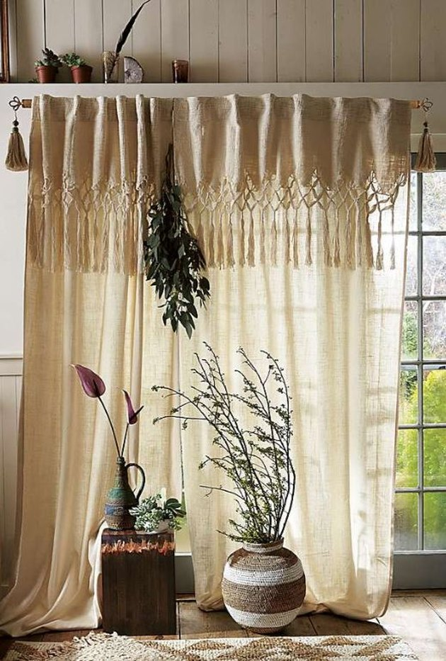macrame curtain panel