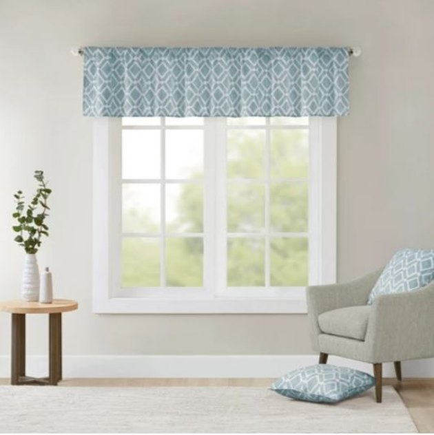 Blue window valance