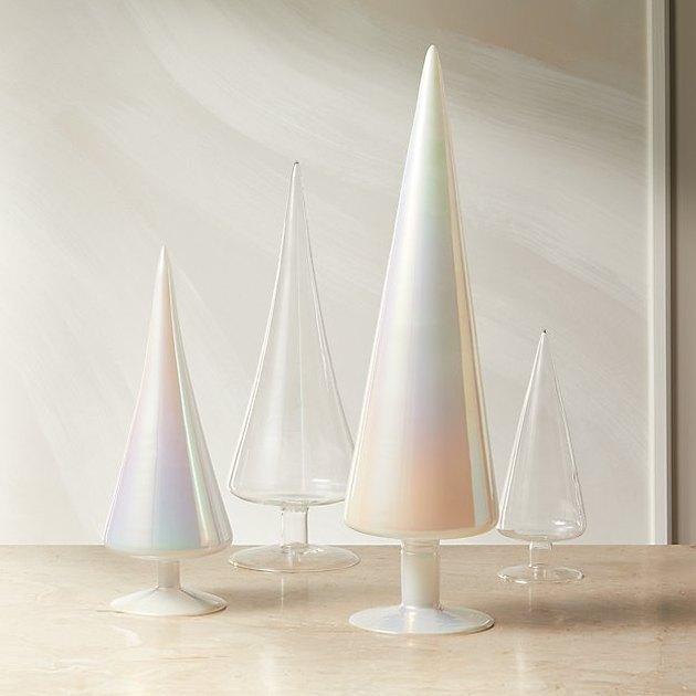 four decorative glass trees