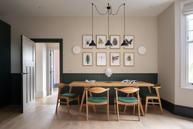 beige and green dining room
