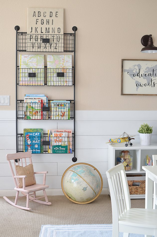vintage style Playroom Organization Ideas with wire basket storage