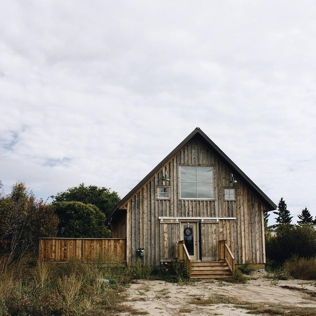 An a-frame wood farmhouse