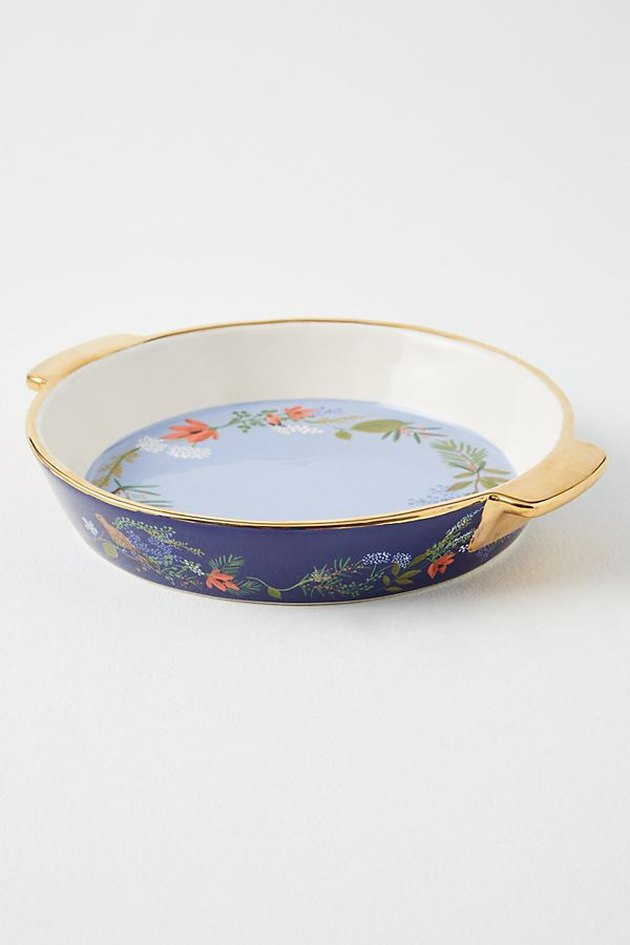 white and blue winter floral pie dish