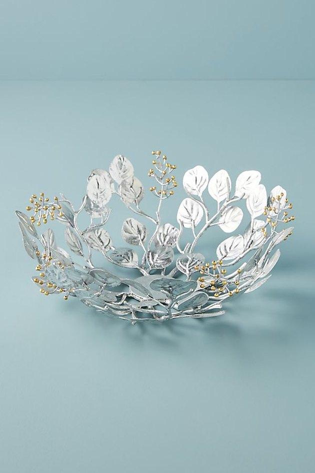 silver leaf decorative bowl
