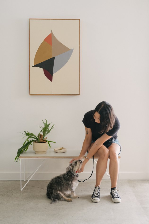 Hunker Made Rui rectangle table with girl and dog