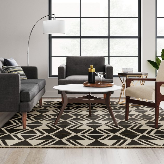 geometric rug in living room