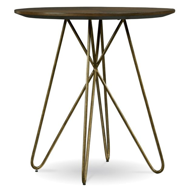 tall wood table with hairpin legs