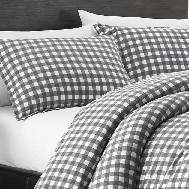 grey and white flannel comforter set
