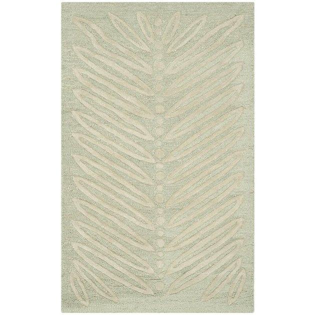 light green leaf print area rug