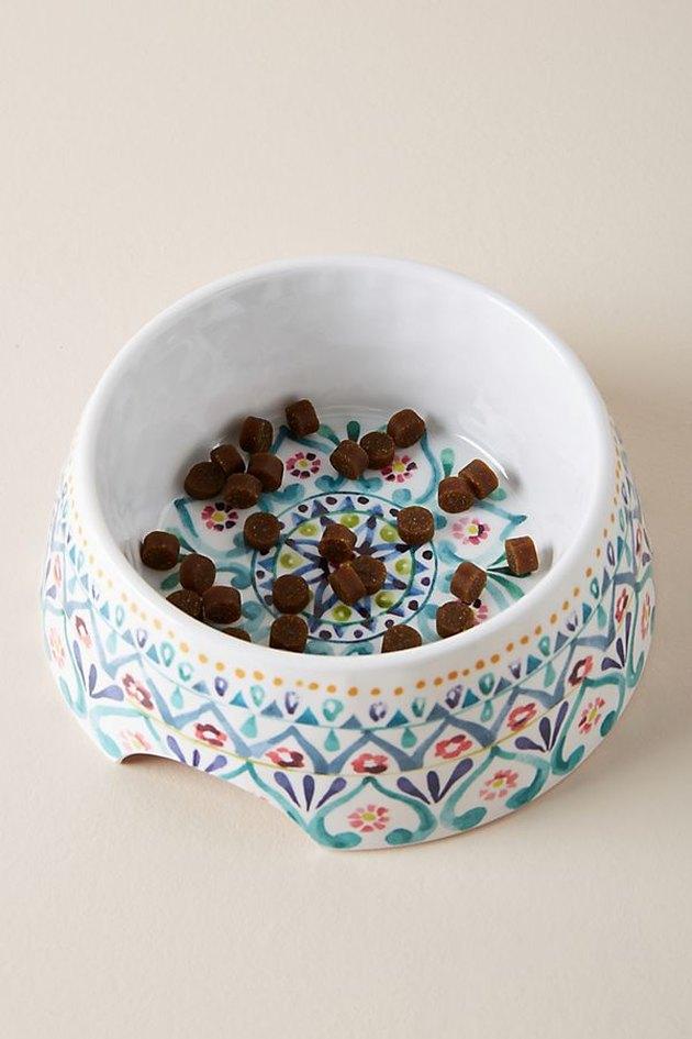 floral dog bowl