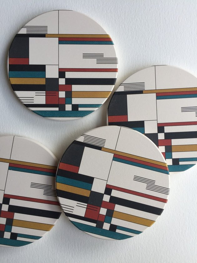 coasters with multicolored pattern