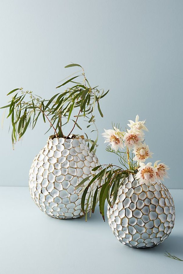 two honeycomb patterned vases with plants
