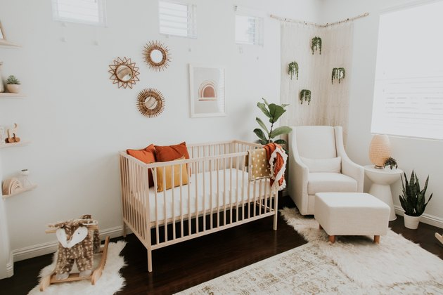 modern nursery idea with neutral color scheme and potted plants