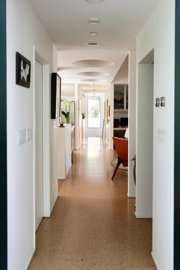 hallway to kitchen with cork flooring