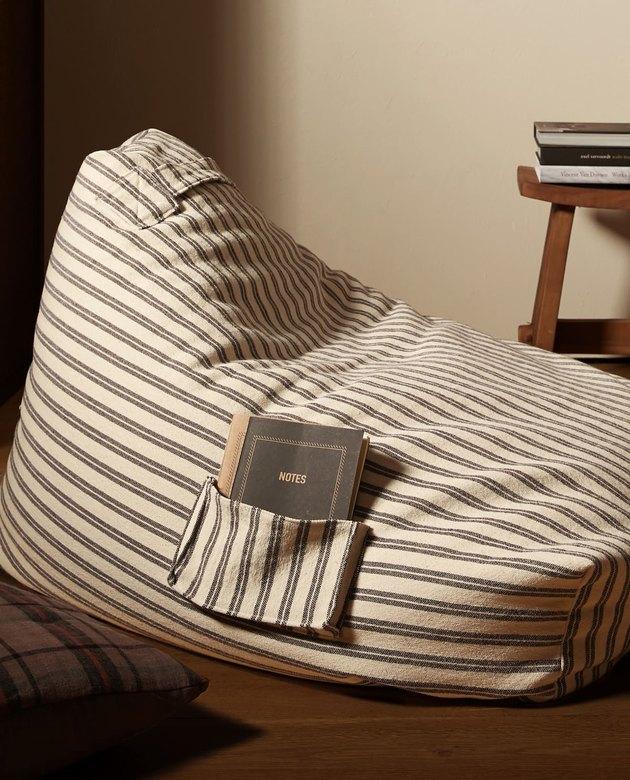 zara striped pouf chair
